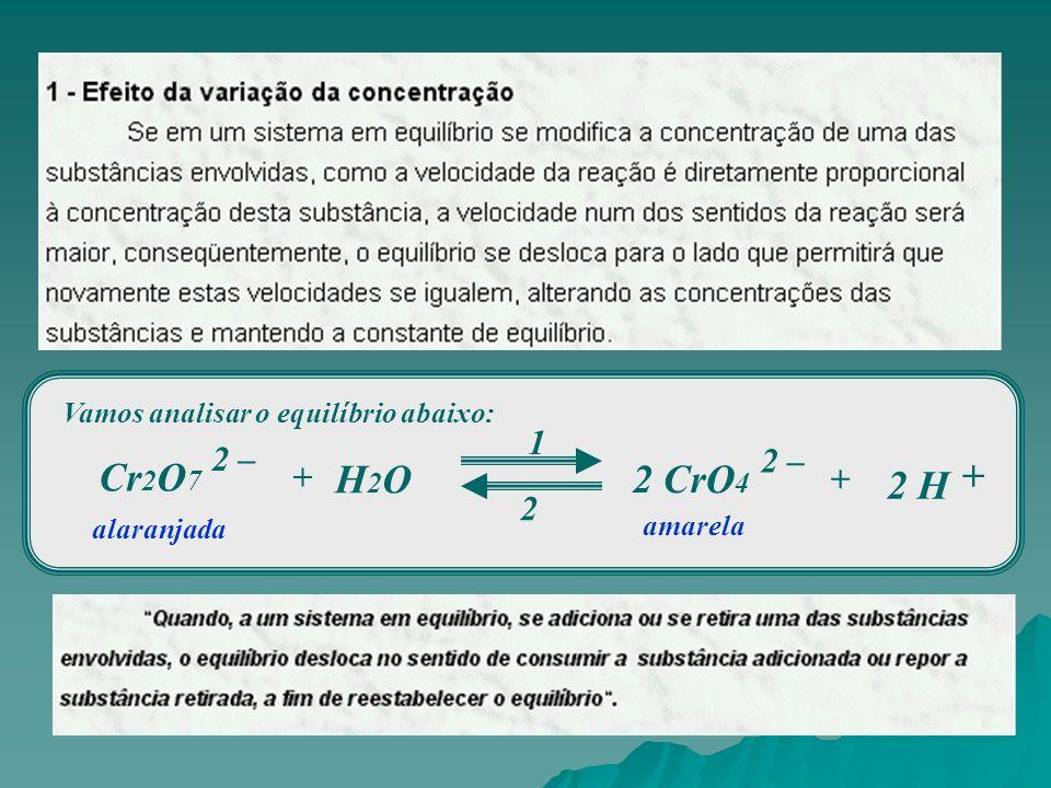 Vamos analisar o equilíbrio abaixo: Cr 2 O 7 1 2 2 H 2 – + H2OH2O 2 CrO 4 2 – + + alaranjada amarela
