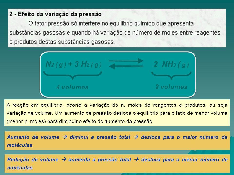 Aumento de volume  diminui a pressão total  desloca para o maior número de moléculas Redução de volume  aumenta a pressão total  desloca para o me