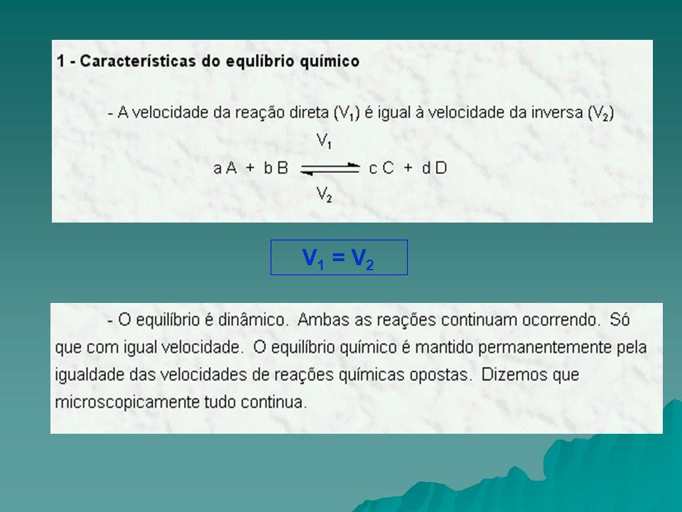  No equilíbrio químico...aA + bB c C + dD 1 1 2 2 K 1.[ A ] a.