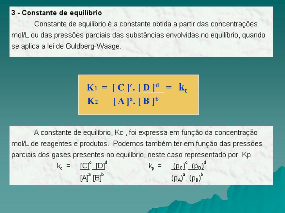 Medidas de concentração para o sistema abaixo, em equilíbrio, a uma certa temperatura forneceram os seguintes resultados: Determine a constante de equilíbrio da reação nestas condições.