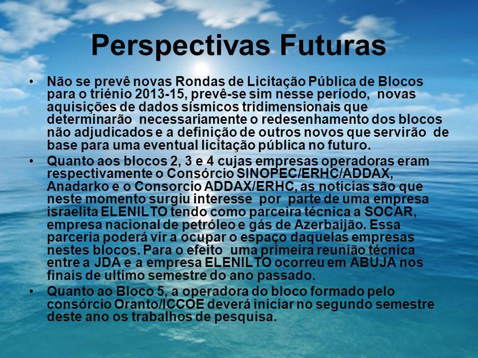 Perspectivas Futuras Não se prevê novas Rondas de Licitação Pública de Blocos para o triénio 2013-15, prevê-se sim nesse período, novas aquisições de