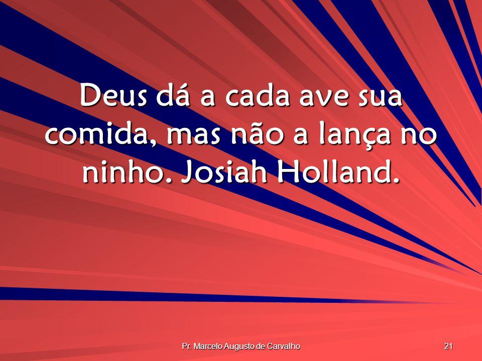 Pr. Marcelo Augusto de Carvalho 21 Deus dá a cada ave sua comida, mas não a lança no ninho. Josiah Holland.