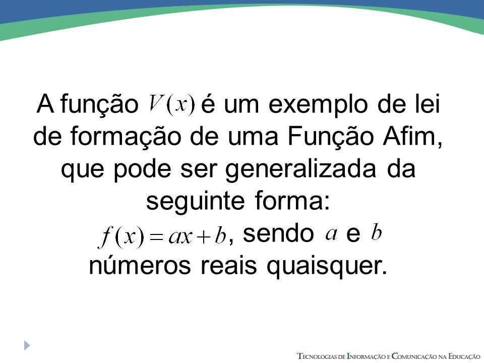 A função é um exemplo de lei de formação de uma Função Afim, que pode ser generalizada da seguinte forma:, sendo e números reais quaisquer.
