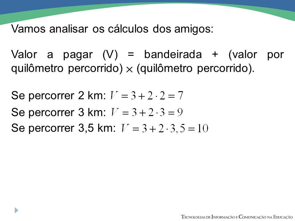 Vamos analisar os cálculos dos amigos: Se percorrer 2 km: Se percorrer 3 km: Se percorrer 3,5 km: Valor a pagar (V) = bandeirada + (valor por quilômetro percorrido) (quilômetro percorrido).