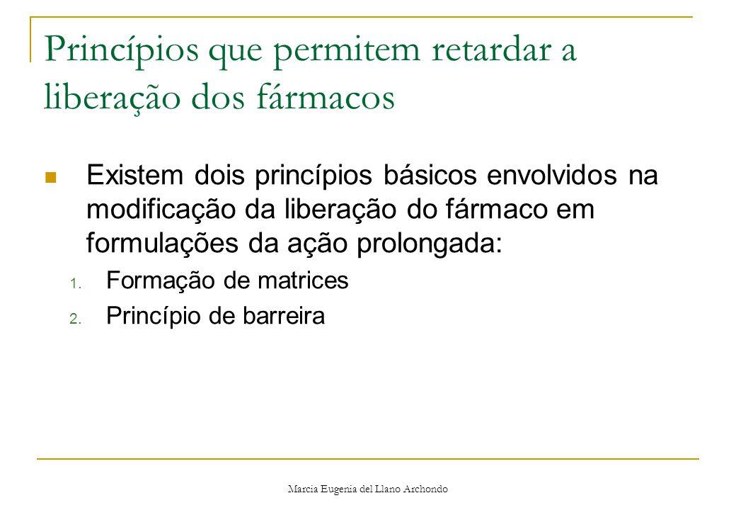 Marcia Eugenia del Llano Archondo Princípios que permitem retardar a liberação dos fármacos Existem dois princípios básicos envolvidos na modificação da liberação do fármaco em formulações da ação prolongada: 1.