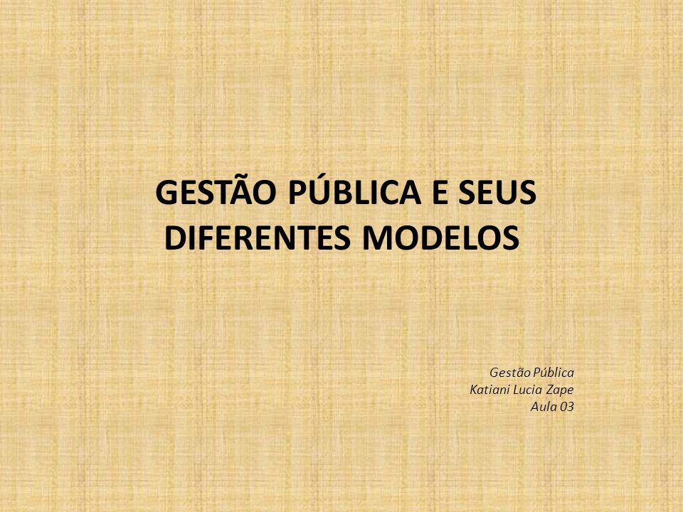 GESTÃO PÚBLICA E SEUS DIFERENTES MODELOS Gestão Pública Katiani Lucia Zape Aula 03