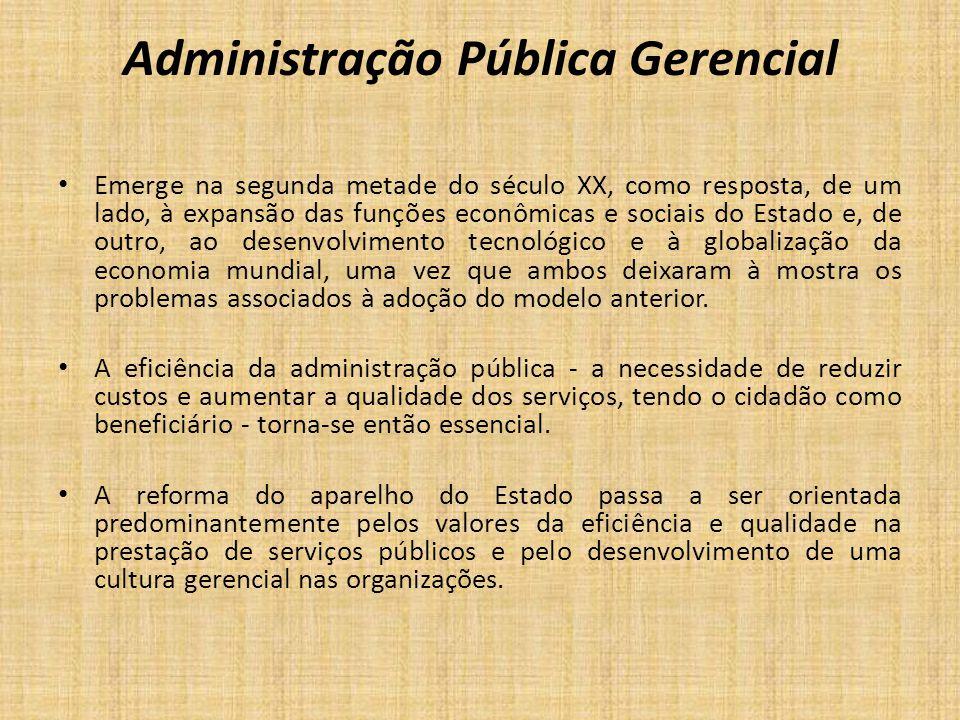 Administração Pública Gerencial Emerge na segunda metade do século XX, como resposta, de um lado, à expansão das funções econômicas e sociais do Estad