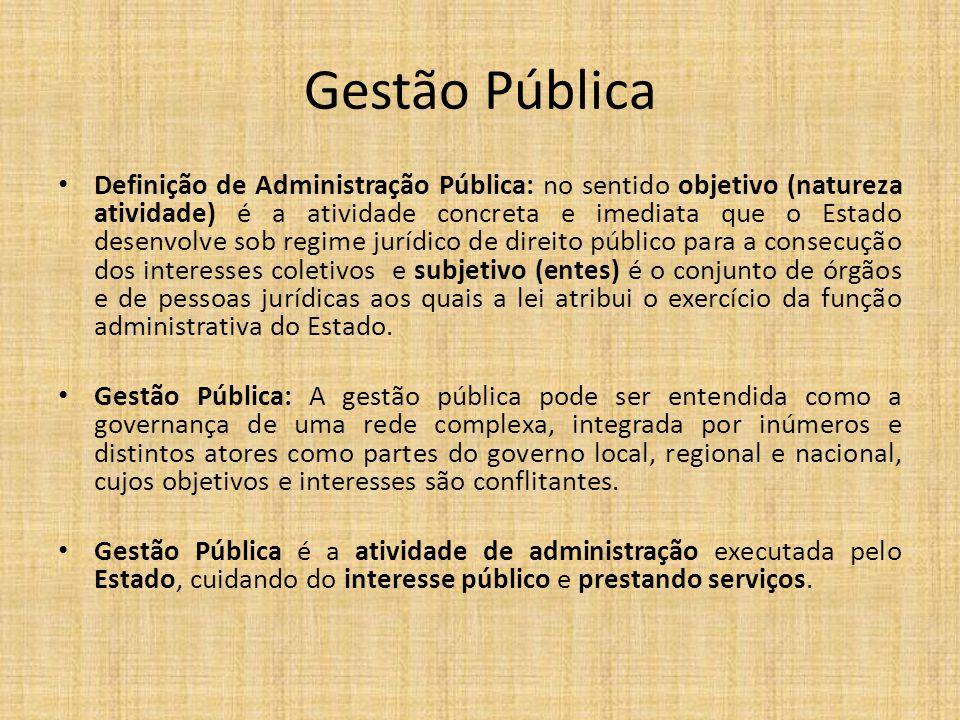 Gestão Pública Definição de Administração Pública: no sentido objetivo (natureza atividade) é a atividade concreta e imediata que o Estado desenvolve