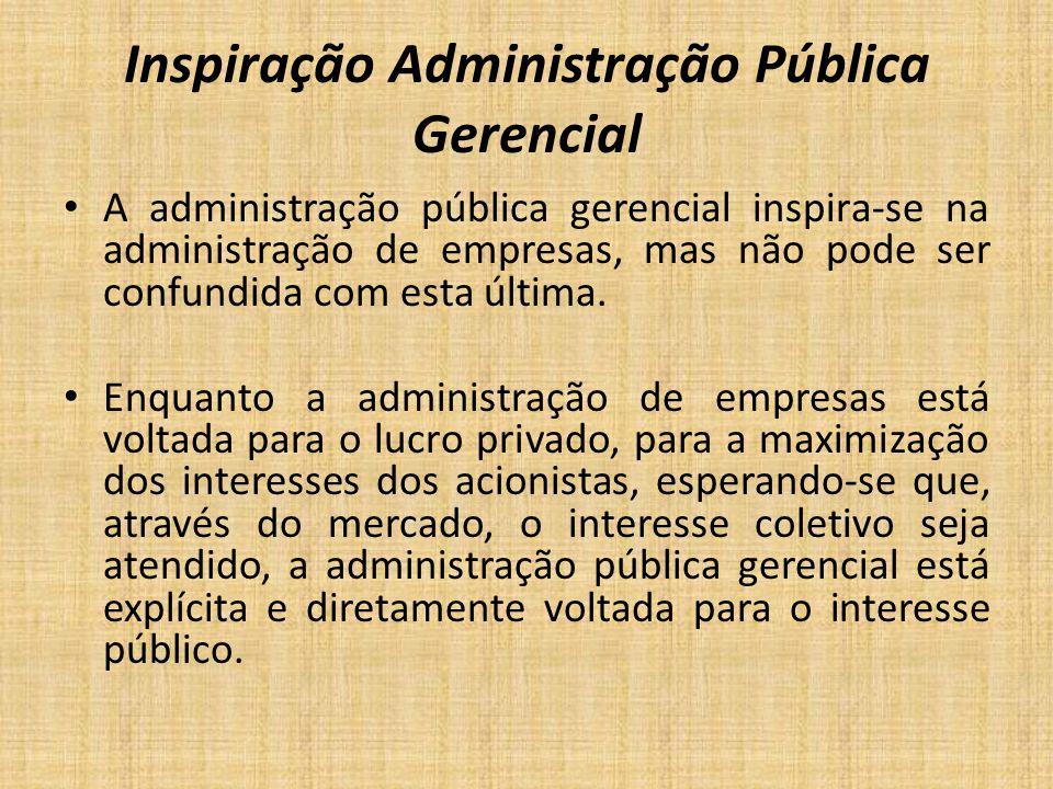 Inspiração Administração Pública Gerencial A administração pública gerencial inspira-se na administração de empresas, mas não pode ser confundida com