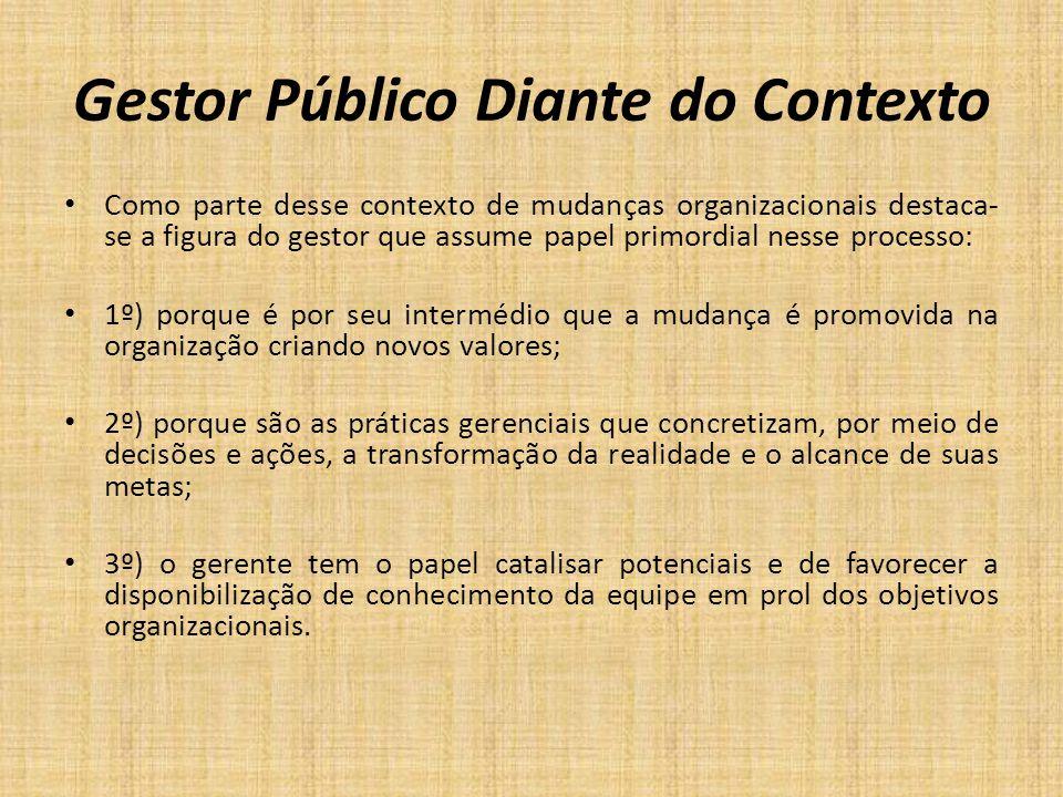 Gestor Público Diante do Contexto Como parte desse contexto de mudanças organizacionais destaca- se a figura do gestor que assume papel primordial nes