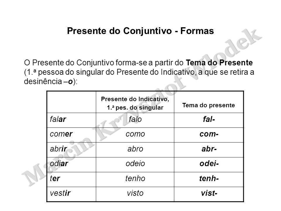 Marcin Krzysztof Wlodek Presente do Conjuntivo - Formas O Presente do Conjuntivo forma-se a partir do Tema do Presente (1.