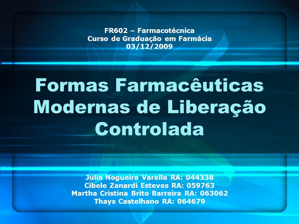 Formas Farmacêuticas Modernas de Liberação Controlada Julia Nogueira Varella RA: 044338 Cibele Zanardi Esteves RA: 059763 Martha Cristina Brito Barrei