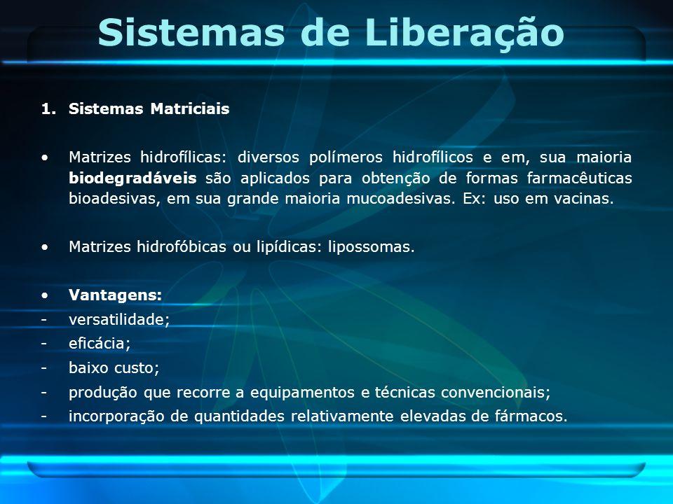 Sistemas de Liberação 1.Sistemas Matriciais Matrizes hidrofílicas: diversos polímeros hidrofílicos e em, sua maioria biodegradáveis são aplicados para