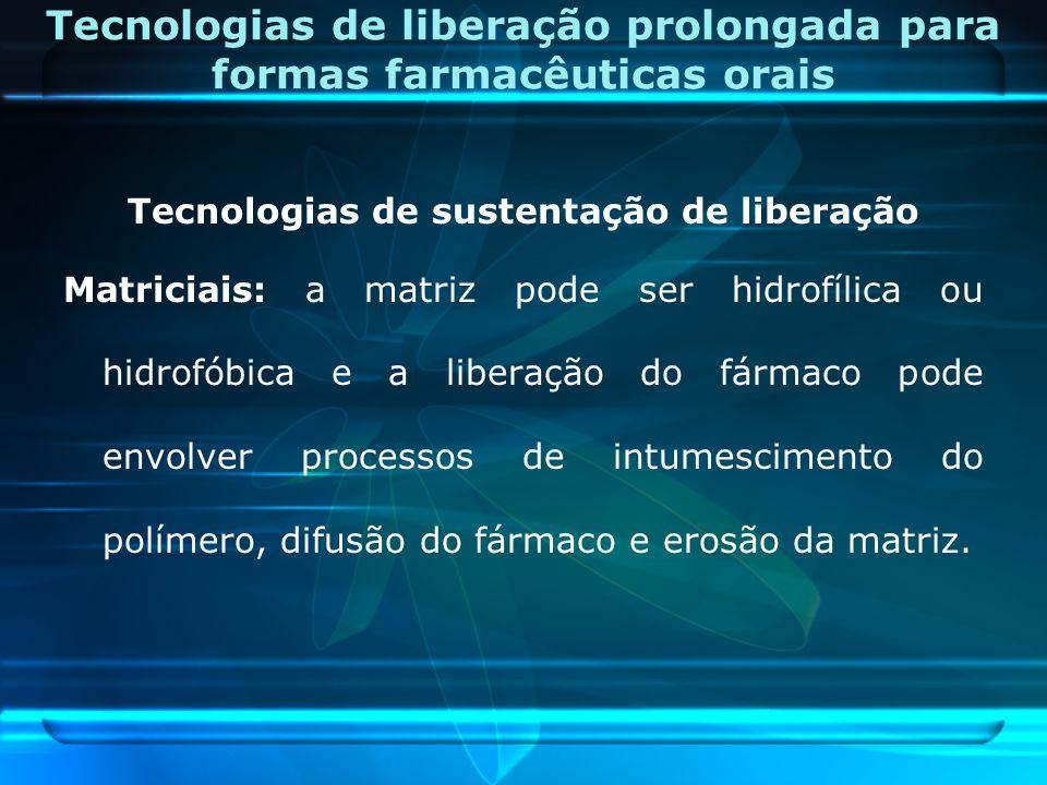 Tecnologias de liberação prolongada para formas farmacêuticas orais Tecnologias de sustentação de liberação Matriciais: a matriz pode ser hidrofílica