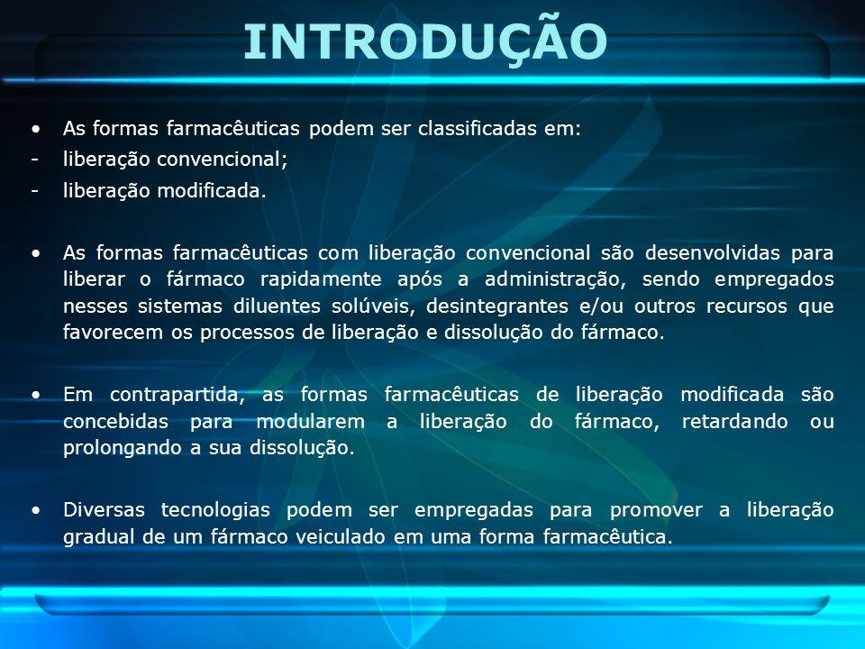 INTRODUÇÃO As formas farmacêuticas podem ser classificadas em: -liberação convencional; -liberação modificada. As formas farmacêuticas com liberação c