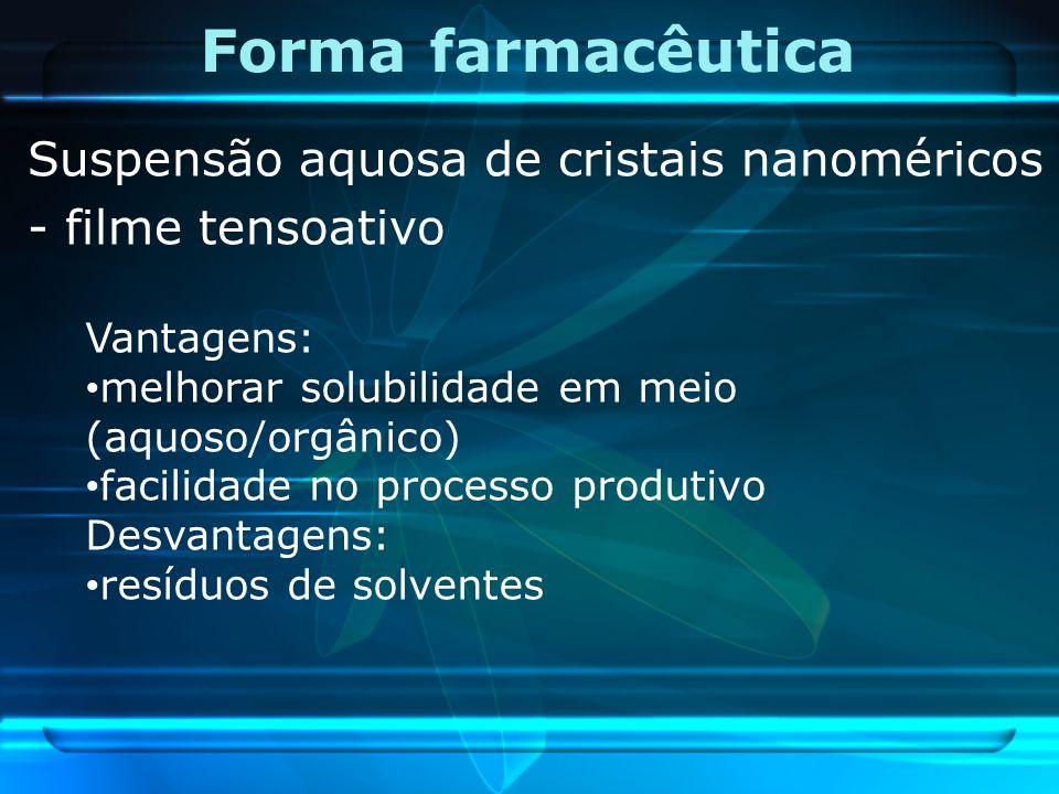 Forma farmacêutica Suspensão aquosa de cristais nanoméricos - filme tensoativo Vantagens: melhorar solubilidade em meio (aquoso/orgânico) facilidade n