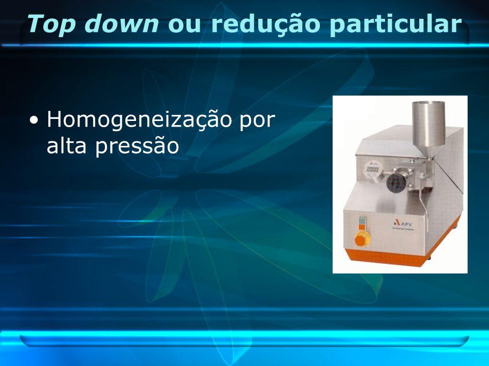 Top down ou redução particular Homogeneização por alta pressão