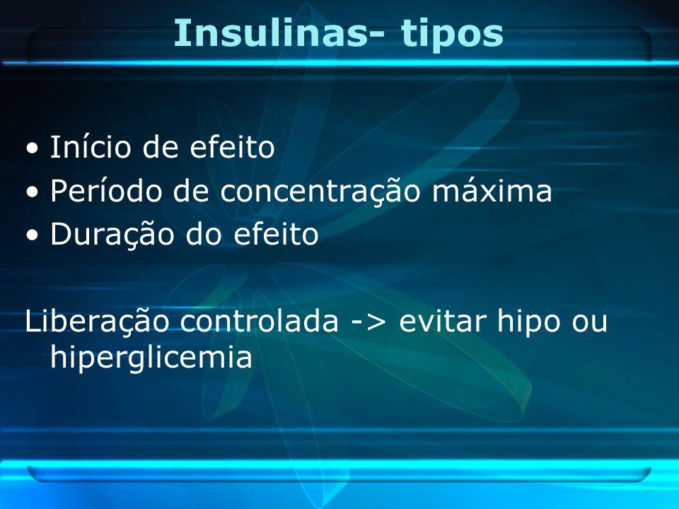 Insulinas- tipos Início de efeito Período de concentração máxima Duração do efeito Liberação controlada -> evitar hipo ou hiperglicemia
