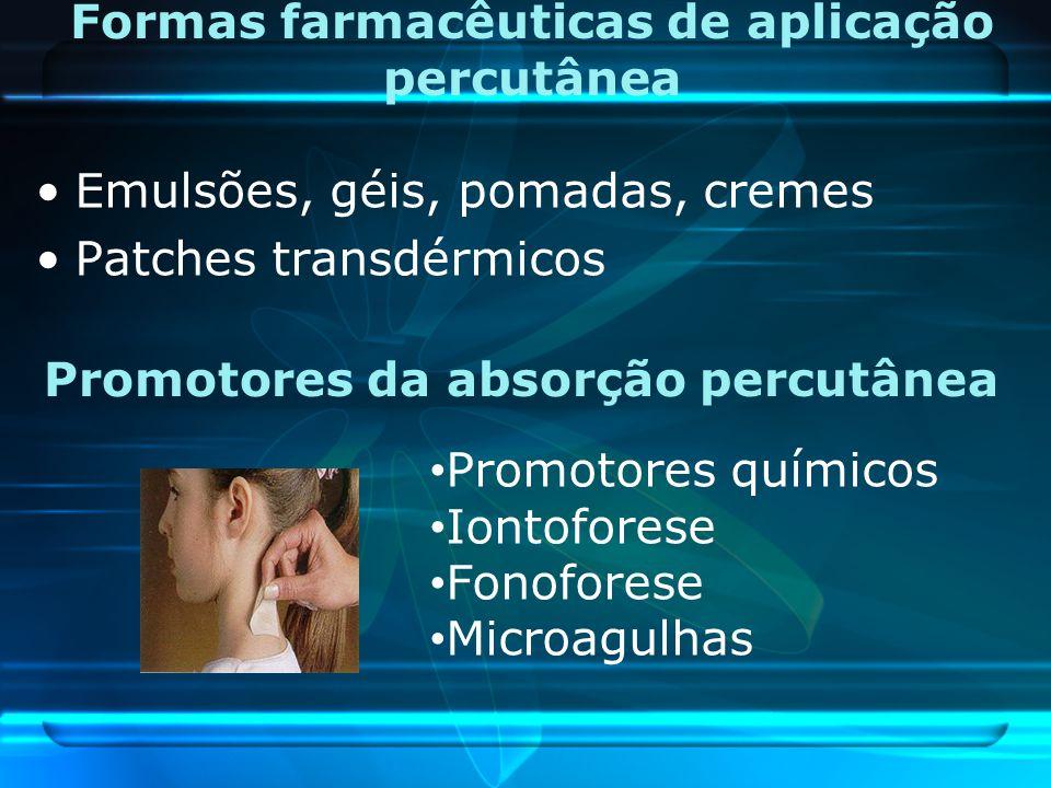 Formas farmacêuticas de aplicação percutânea Emulsões, géis, pomadas, cremes Patches transdérmicos Promotores da absorção percutânea Promotores químic