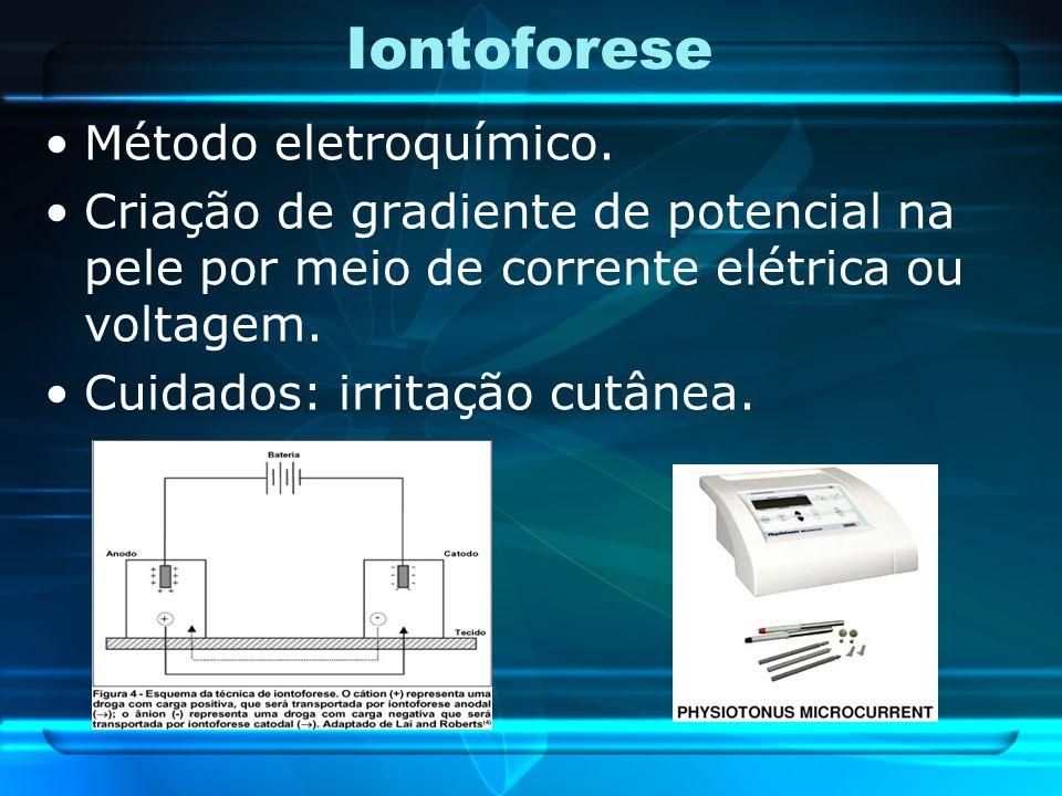 Iontoforese Método eletroquímico. Criação de gradiente de potencial na pele por meio de corrente elétrica ou voltagem. Cuidados: irritação cutânea.