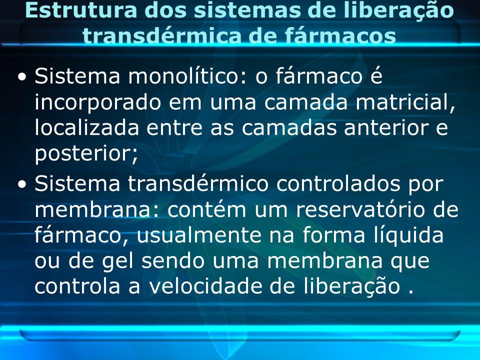 Estrutura dos sistemas de liberação transdérmica de fármacos Sistema monolítico: o fármaco é incorporado em uma camada matricial, localizada entre as