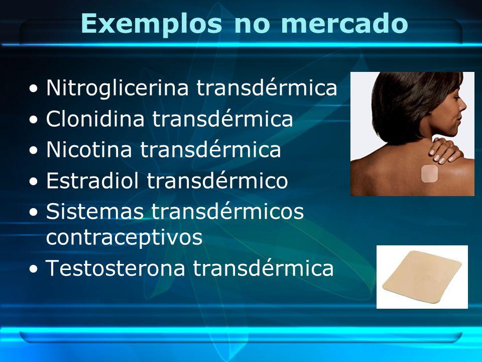 Exemplos no mercado Nitroglicerina transdérmica Clonidina transdérmica Nicotina transdérmica Estradiol transdérmico Sistemas transdérmicos contracepti