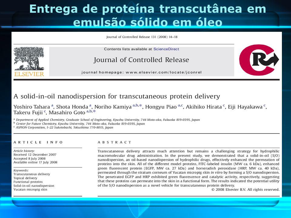 Entrega de proteína transcutânea em emulsão sólido em óleo