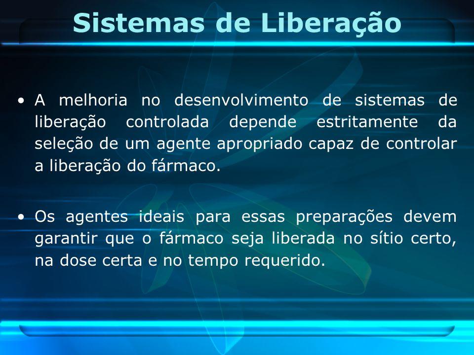 Sistemas de Liberação A melhoria no desenvolvimento de sistemas de liberação controlada depende estritamente da seleção de um agente apropriado capaz
