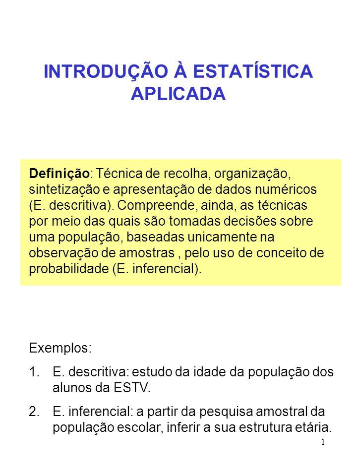 1 INTRODUÇÃO À ESTATÍSTICA APLICADA Definição: Técnica de recolha, organização, sintetização e apresentação de dados numéricos (E. descritiva). Compre