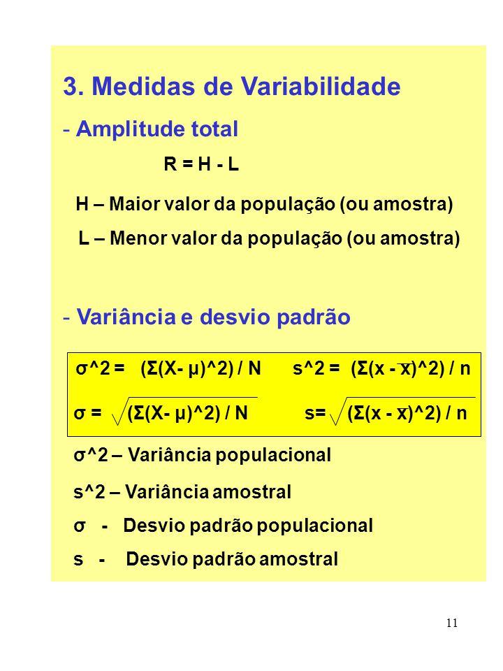 11 3. Medidas de Variabilidade - Amplitude total R = H - L H – Maior valor da população (ou amostra) L – Menor valor da população (ou amostra) - Variâ