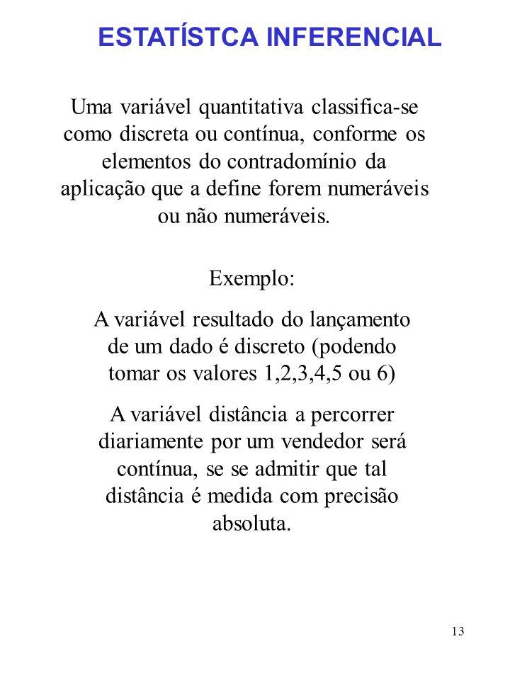 13 Uma variável quantitativa classifica-se como discreta ou contínua, conforme os elementos do contradomínio da aplicação que a define forem numerávei