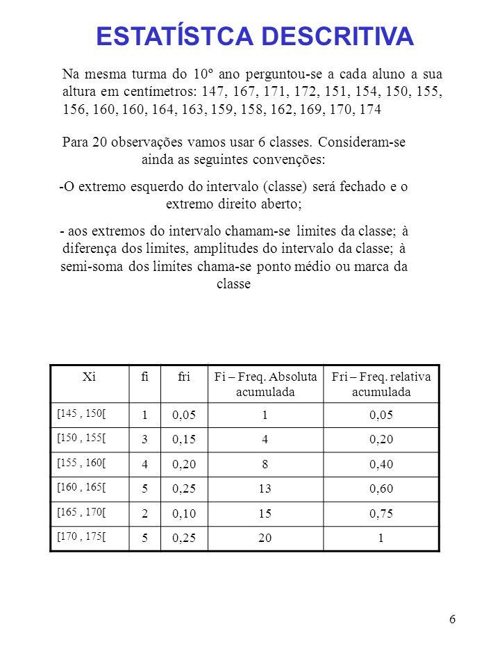 6 Na mesma turma do 10º ano perguntou-se a cada aluno a sua altura em centímetros: 147, 167, 171, 172, 151, 154, 150, 155, 156, 160, 160, 164, 163, 15