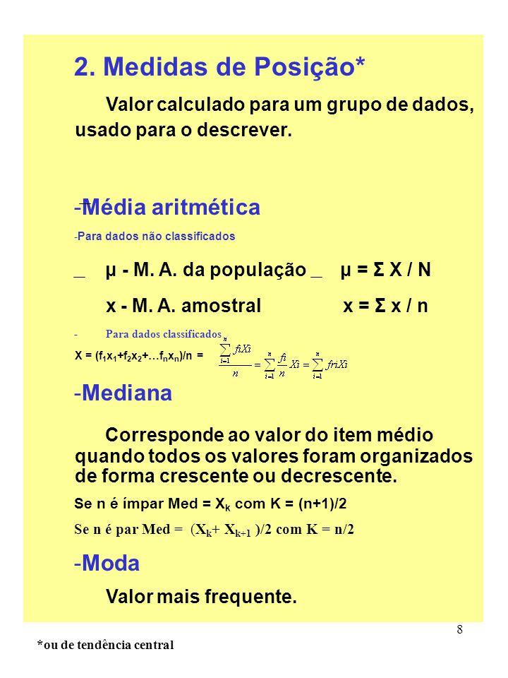 8 2. Medidas de Posição* Valor calculado para um grupo de dados, usado para o descrever. -Média aritmética -Para dados não classificados μ - M. A. da