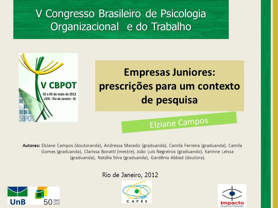 V Congresso Brasileiro de Psicologia Organizacional e do Trabalho Empresas Juniores: prescrições para um contexto de pesquisa Rio de Janeiro, 2012 Aut