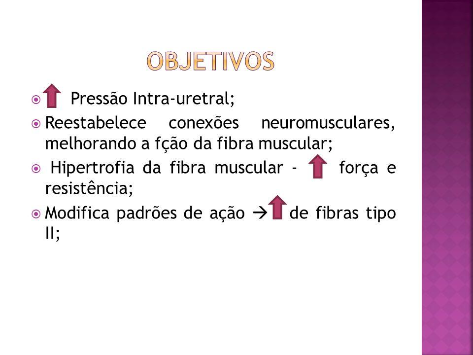  Determina contração dos músculos perineais e permite a consciência corporal;  Tipos de corrente: Alternadas, bipolares e interferenciais;  Eletrod
