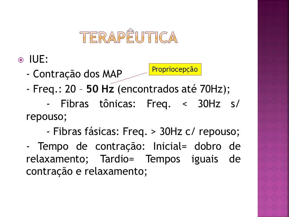  ANALGESIA: - Eletrodo de superfície: corrente Interferencial  2 eletrodos no abdome e 2 na parte interna de coxas; - Freq.100Hz - Intensidade variá
