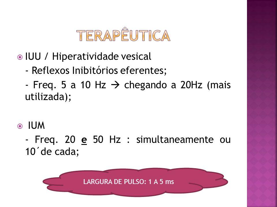  IUE: - Contração dos MAP - Freq.: 20 – 50 Hz (encontrados até 70Hz); - Fibras tônicas: Freq. < 30Hz s/ repouso; - Fibras fásicas: Freq. > 30Hz c/ re