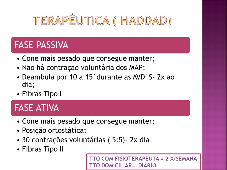 FASE PASSIVA Cone mais pesado que consegue manter; Não há contração voluntária dos MAP; Deambula por 10 a 15´durante as AVD´S- 2x ao dia; Fibras Tipo I FASE ATIVA Cone mais pesado que consegue manter; Posição ortostática; 30 contrações voluntárias ( 5:5)- 2x dia Fibras Tipo II TTO COM FISIOTERAPEUTA = 2 X/SEMANA TTO DOMICILIAR= DIÁRIO