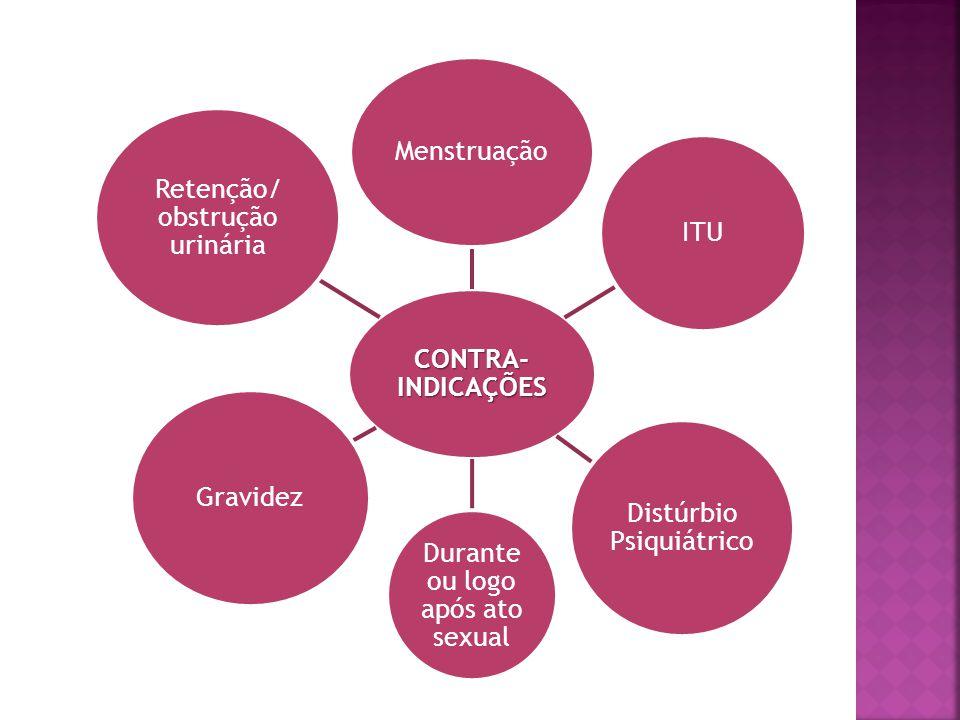 CONTRA- INDICAÇÕES Menstruação ITU Distúrbio Psiquiátrico Durante ou logo após ato sexual Gravidez Retenção/ obstrução urinária