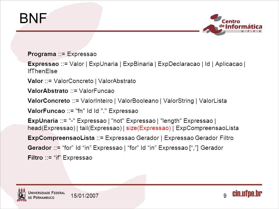15/01/20079 BNF Programa ::= Expressao Expressao ::= Valor | ExpUnaria | ExpBinaria | ExpDeclaracao | Id | Aplicacao | IfThenElse Valor ::= ValorConcr