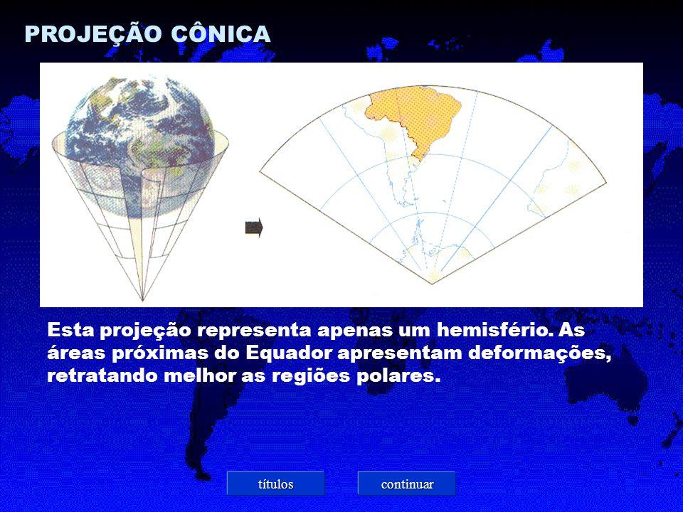 PROJEÇÃO CÔNICA Esta projeção representa apenas um hemisfério.