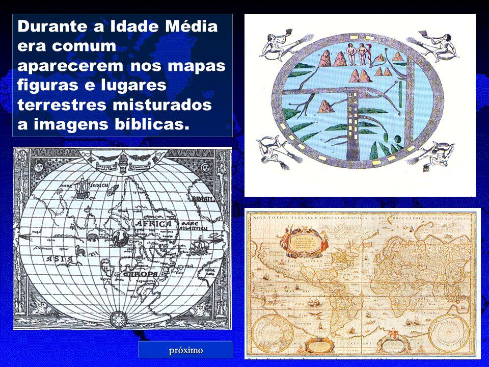 Durante a Idade Média era comum aparecerem nos mapas figuras e lugares terrestres misturados a imagens bíblicas.