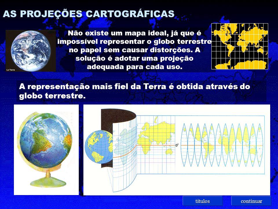 Projeção de Mercator ( ou Cilíndrica ) Representa melhor as regiões próximas ao Equador, pois as regiões polares apresentam grandes deformações.
