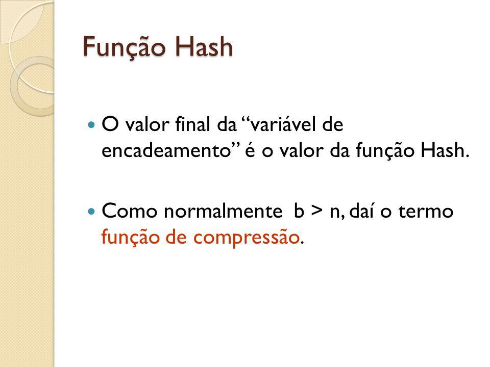 """Função Hash O valor final da """"variável de encadeamento"""" é o valor da função Hash. Como normalmente b > n, daí o termo função de compressão."""