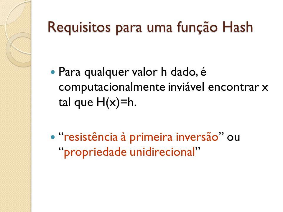 """Requisitos para uma função Hash Para qualquer valor h dado, é computacionalmente inviável encontrar x tal que H(x)=h. """"resistência à primeira inversão"""