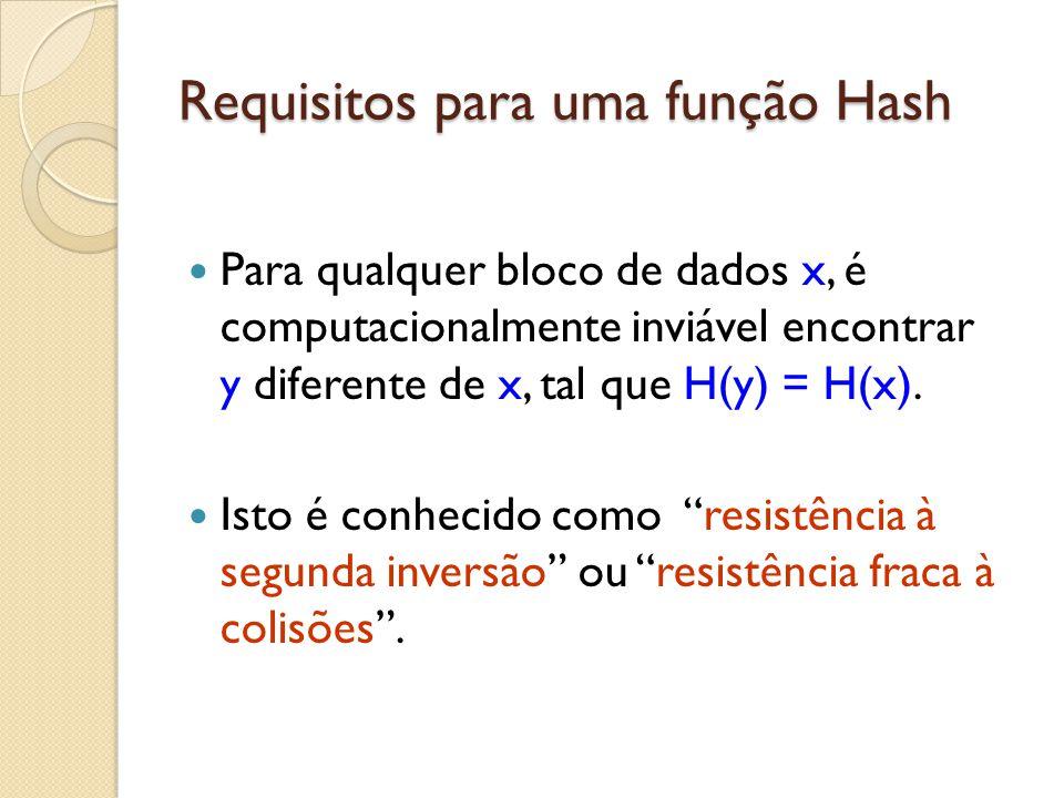 Requisitos para uma função Hash Para qualquer bloco de dados x, é computacionalmente inviável encontrar y diferente de x, tal que H(y) = H(x). Isto é
