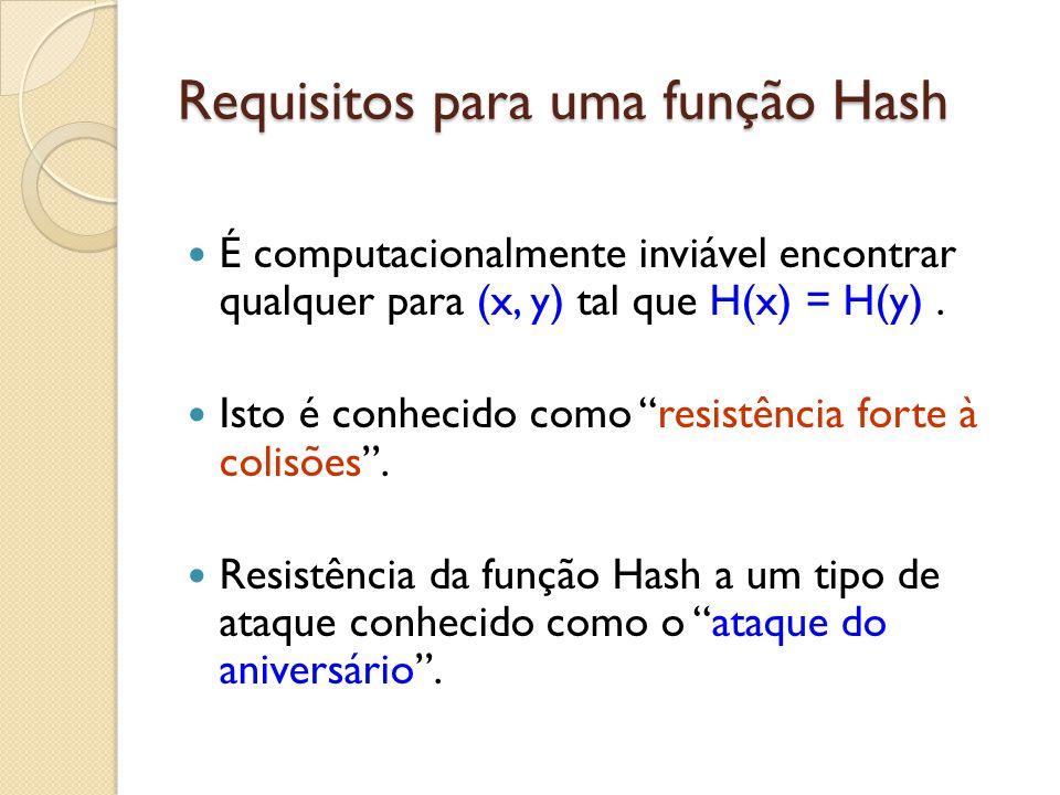 """Requisitos para uma função Hash É computacionalmente inviável encontrar qualquer para (x, y) tal que H(x) = H(y). Isto é conhecido como """"resistência f"""