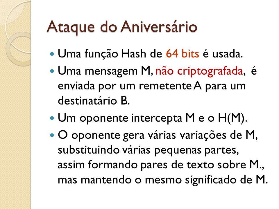 Ataque do Aniversário Uma função Hash de 64 bits é usada. Uma mensagem M, não criptografada, é enviada por um remetente A para um destinatário B. Um o