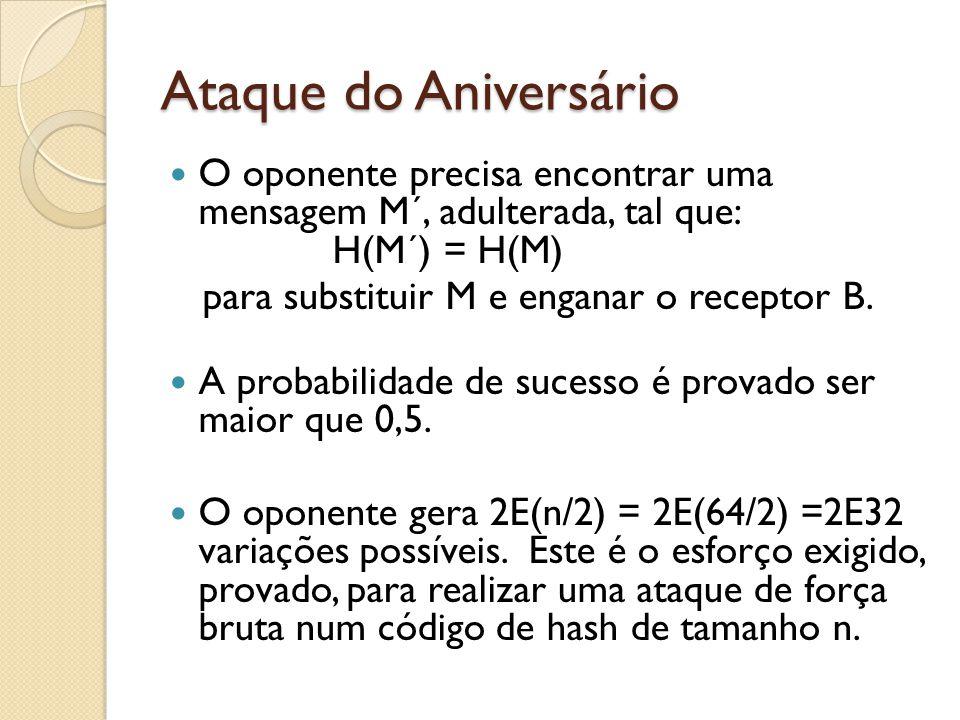 Ataque do Aniversário O oponente precisa encontrar uma mensagem M´, adulterada, tal que: H(M´) = H(M) para substituir M e enganar o receptor B.
