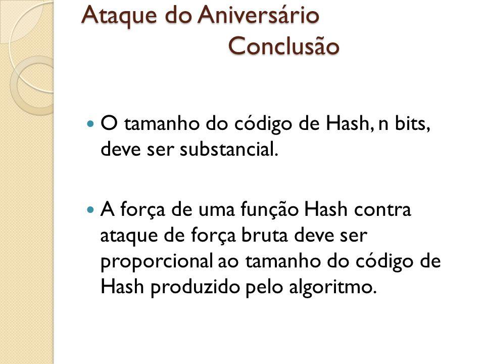 Ataque do Aniversário Conclusão O tamanho do código de Hash, n bits, deve ser substancial. A força de uma função Hash contra ataque de força bruta dev